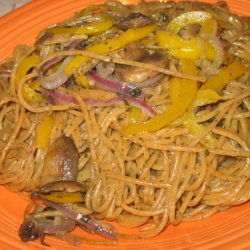 Pesto Pasta With Mushrooms, Onions, and Red Bell Peppers