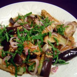 Warm Eggplant Salad With Sesame and Shallots recipe