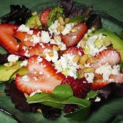 Avocado Strawberry Salad With Feta and Walnuts in a Tarragon Vin