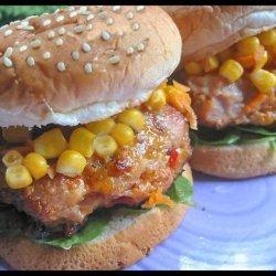 Cheesy Chicken Burger W/ Corn & Carrot Relish