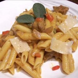 Penne With Sausage in Pumpkin Sauce.