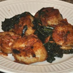 Pan-Seared Scallops With Spinach