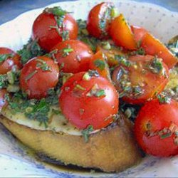Cherry Tomatoes on Provolone Garlic Bread