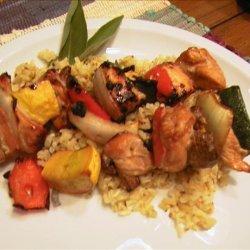 Grilled Chicken and Veggie Kabobs Atop Sage Rice