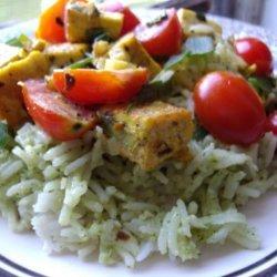 Coconut Curried Tofu with Green Jasmine Rice