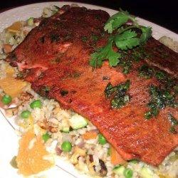 Cumin Crusted Salmon With Orange Rice Pilaf