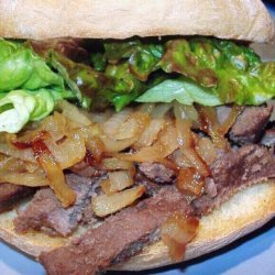 Venison Steak Sandwich W/ Caramelized Onions