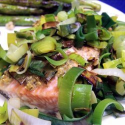 Roast Salmon With Leeks