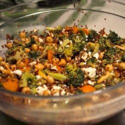 Curry Couscous and Broccoli Feta Salad With Garbanzo Beans