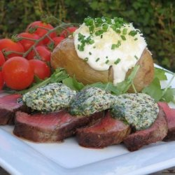 Sacré Boeuf Sirloin Steak Topped With Mustard Herb Butter recipe