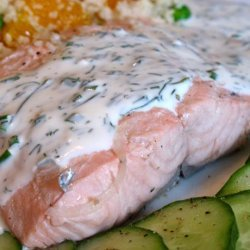 Steeped Salmon With Chive and Dill Sauce