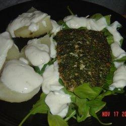 Peppered Salmon W/ Arugula (Rocket) and Yogurt Dressed Potatoes