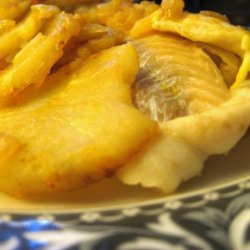 Baked Fish With Potatoes, Onions, Saffron and Paprika