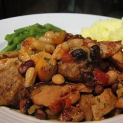 Slow, Comfortable Piquant Pork and Bacon Cassoulet (Crock Pot) recipe