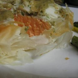 Salmon and Crab in Phyllo With White Wine Honey Mustard Sauce