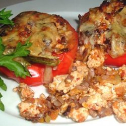 Felicity's Chicken Stuffed Red Bell Peppers recipe