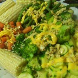 Steamed Vegetable Platter With Lemon Garlic Dressing