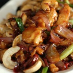 Chinese Pineapple Chicken With Cashew Nuts, Ginger, Spring Onion