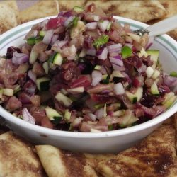 Spicy Fruit Salsa With Cinnamon Sugar Pita Chips