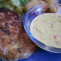 Herb-Crumbed Crispy Chicken With Saffron Cream Sauce