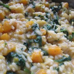 Butternut Squash Risotto With Spinach and Toasted Pine Nuts
