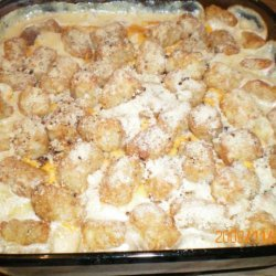 Cheesy Sausage Tater Tots - Topped Casserole
