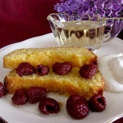 Lemon Polenta Cake With Lavender Syrup and Raspberries