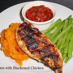 Cajun Cutlets With Sweet Potato Mash and Tomato Chilli Jam recipe