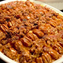 Maple Glazed Sweet Potatoes With Pecan Topping