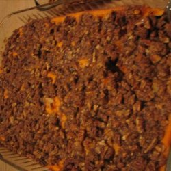 Maple Squished Sweet Potato Bake W/ Spiced Pecan Streusel