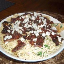 Steak Gorgonzola With Balsamic Reduction over Pasta