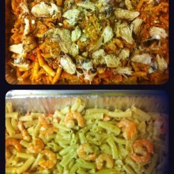 Shrimp and Chicken over Pasta