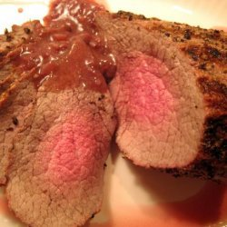 Grilled Peppercorn-Crusted Roast Beef With Port Wine Sauce