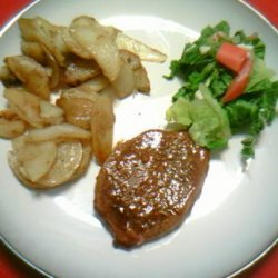 Oven Baked Beef or Pork Steak With Tangy Sauce