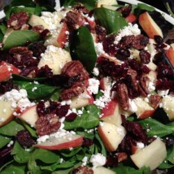Spinach Salad With Smoked Chicken, Apple, Walnuts, Bacon