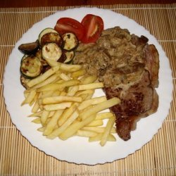 Rib-Eye Steaks W/ Mushrooms, Brandy and Blue Cheese