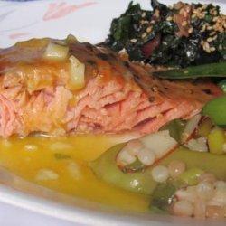 Cedar Planked Salmon With Sweet Mustard Vinaigrette recipe