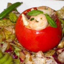 Tomatoes Stuffed With Orzo Shrimp Salad