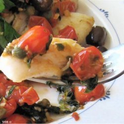 Orange Roughy With Sauteed Olives, Capers & Tomatoes