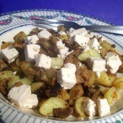Vegetarian Bratkartoffeln (German Fried Potatoes) W/ Feta Cheese