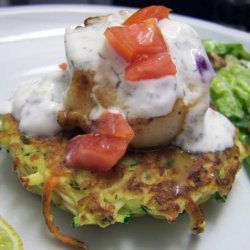 Seared Scallops With Zucchini and Carrot Cakes