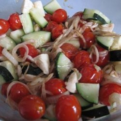 Roasted Tomatoes, Onions, With Mozzarella & Cucumbers