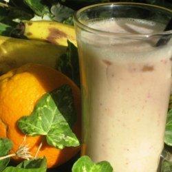 Healthy Strawberry, Orange, Banana, Soymilk Smoothie