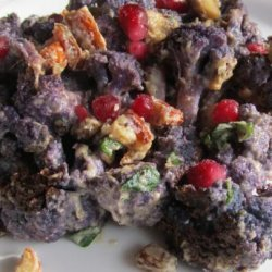 Roast Cauliflower With Almond, Pomegranate Seeds and Tahini Sauc
