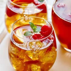 Peach Sangria with Raspberries