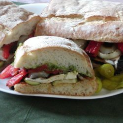 Grilled Veggies on Toasted Ciabatta Bread