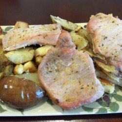 Pork Chops Baked With Potatoes and Pears