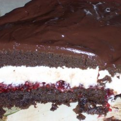 Fudgy Chocolate Layer Cake With Raspberry Chambord Whipped Cream