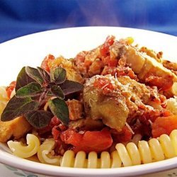 Penne With Grilled Chicken and Eggplant