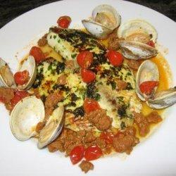 Moroccan Pesto Rockfish With Clam and Chorizo Sauce